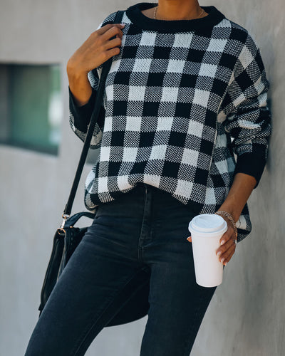 No Love Lost Checkered Knit Sweater