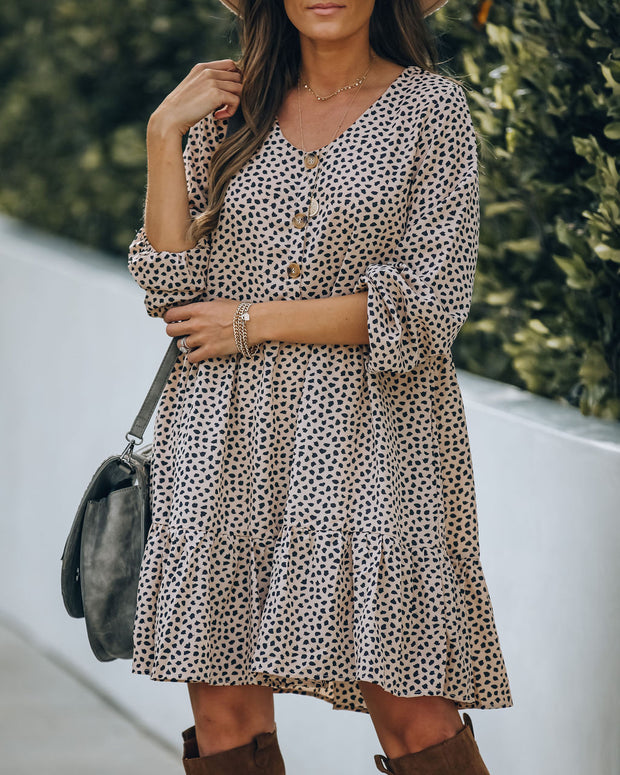 Bungalow Animal Print Tiered Babydoll Dress