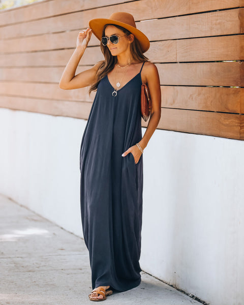Olivian Pocketed Maxi Dress - Charcoal
