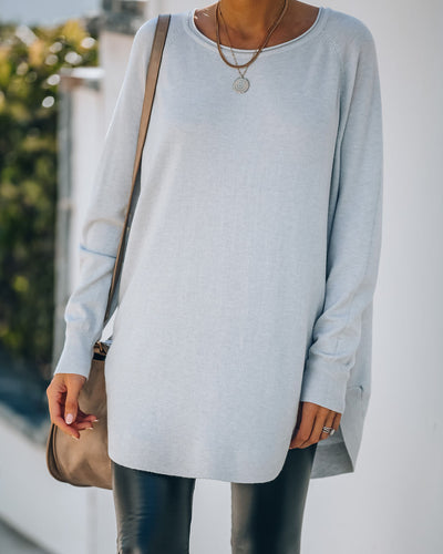 Leandra Knit Tunic Sweater - Cool Grey