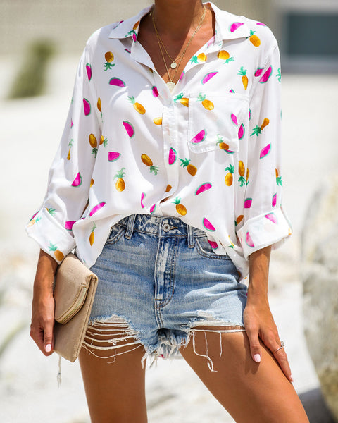 Tropical Cooler Button Down Top