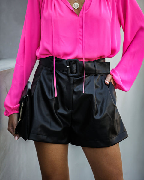 En Route Pocketed Faux Leather Shorts - Black - FINAL SALE