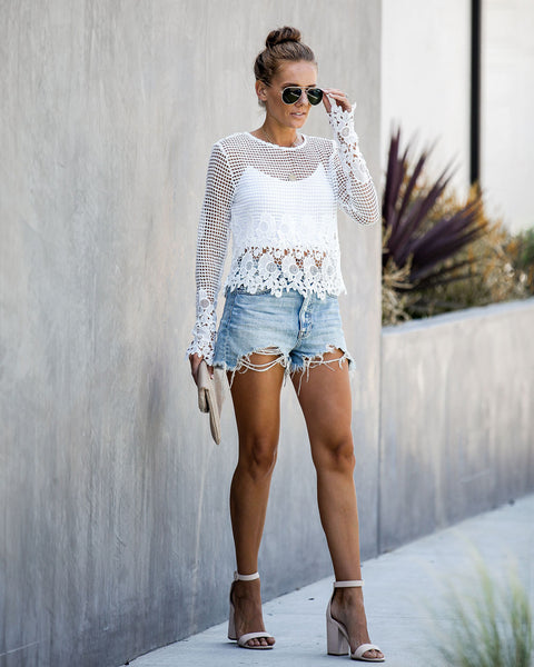 Ayesha Long Sleeve Crochet Blouse - FINAL SALE