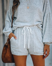 Up At Dawn Cotton Blend Pocketed Striped Shorts - FINAL SALE
