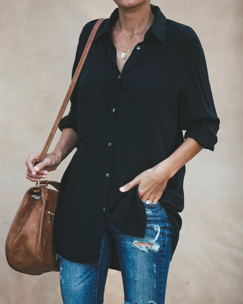 Kiersten Button Down Blouse - Black