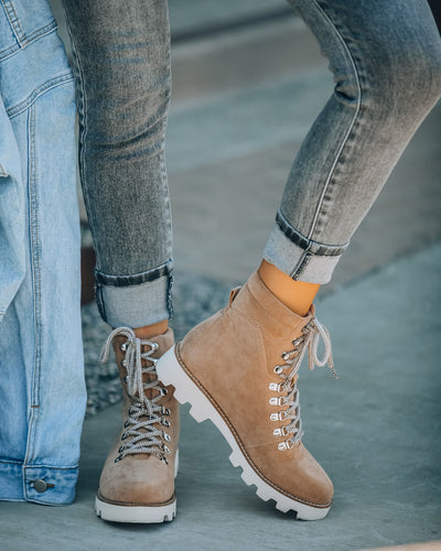 PREORDER - Arlene Faux Suede Lace Up Boot