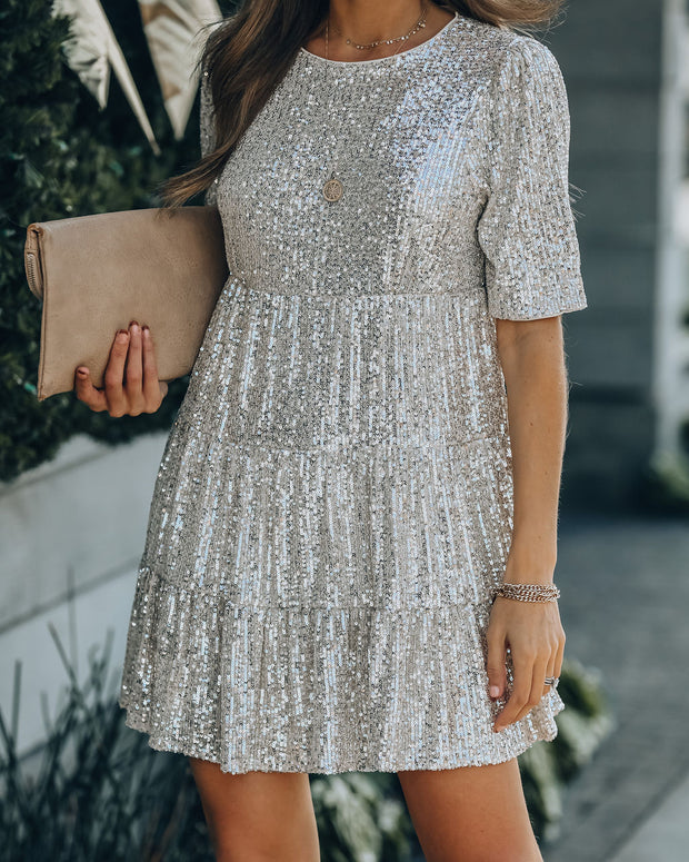 Best Is Yet To Come Sequin Tiered Mini Dress view 8