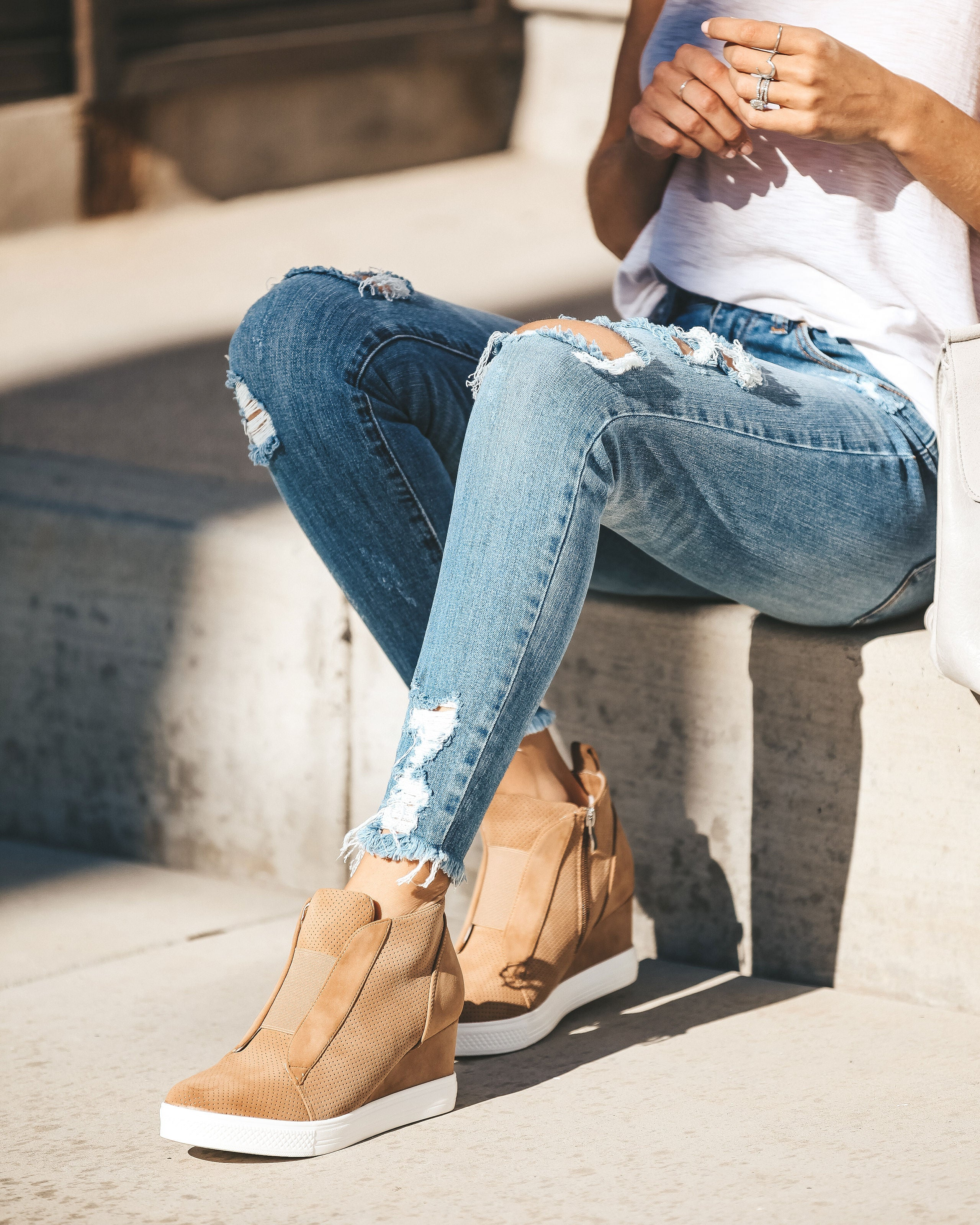 a0654aaf572a New In Town Faux Suede Wedge Sneaker - Camel - FINAL SALE – VICI