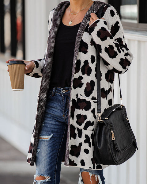 Jagger Pocketed Hooded Leopard Cardigan