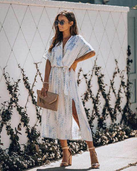 Beach Blanket Tie Dye Kimono Midi Dress - Blue