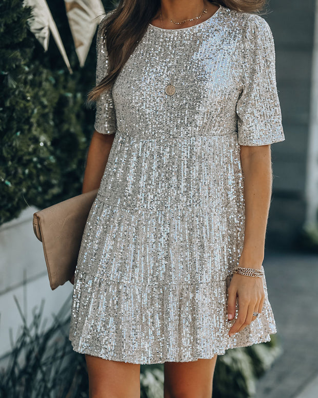 Best Is Yet To Come Sequin Tiered Mini Dress view 6