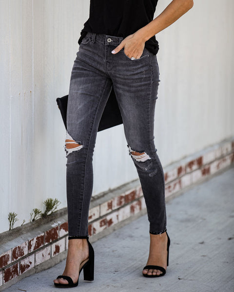 Denali Mid Rise Frayed Ankle Skinny - FINAL SALE
