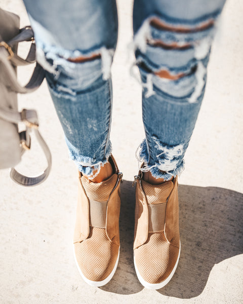 New In Town Faux Suede Wedge Sneaker - Camel - FINAL SALE