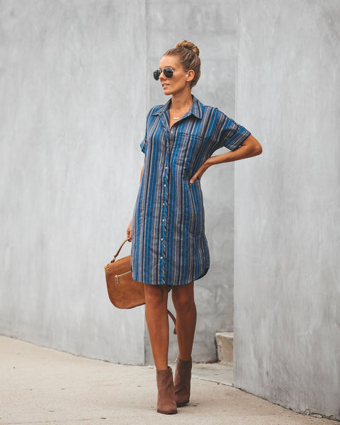 Rancho Button Down Pocketed Shirt Dress - Blueberry
