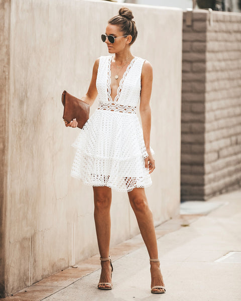 Romantically Yours Crochet Lace Dress - Off White - FINAL SALE