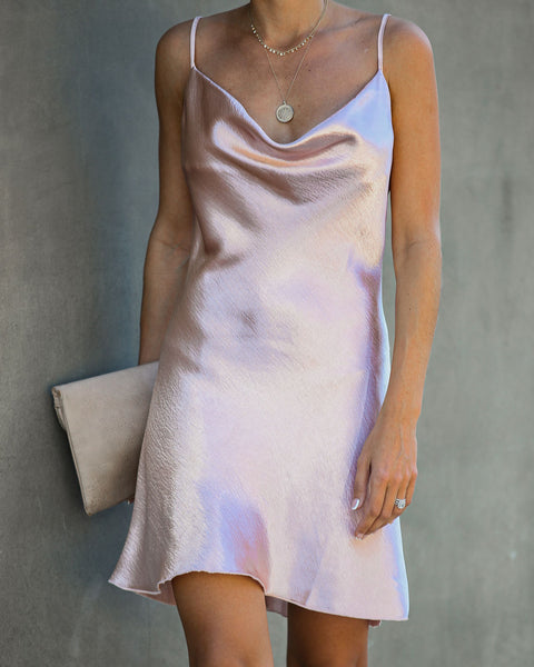 Alexa Satin Mini Slip Dress - Mauve - FINAL SALE