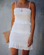 Sun Filled Fun Smocked Ruffle Dress - Off White