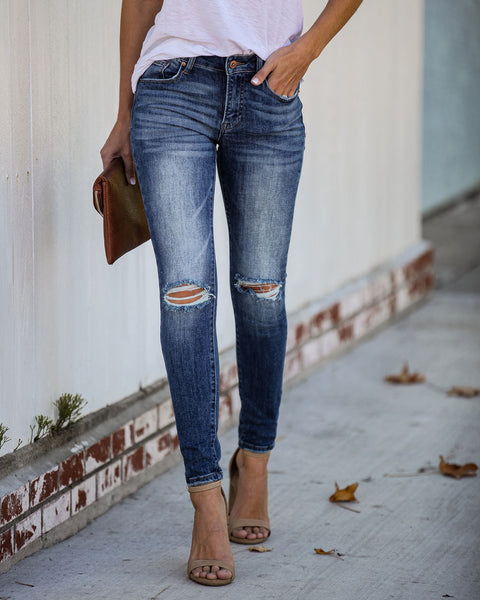 Musa Distressed Mid Rise Skinny