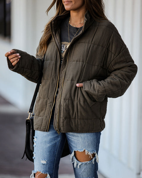 Festive Town Pocketed Quilted Jacket - Olive - FINAL SALE