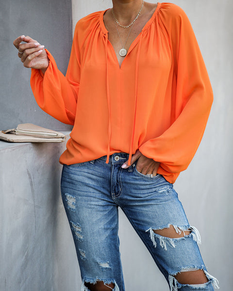 Down To Business Blouse - Orange