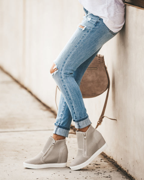 Kickin' It Wedge Sneaker - Light Grey - FINAL SALE
