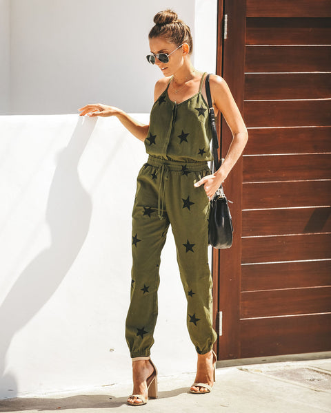 Patriot Pocketed Cotton Jumpsuit