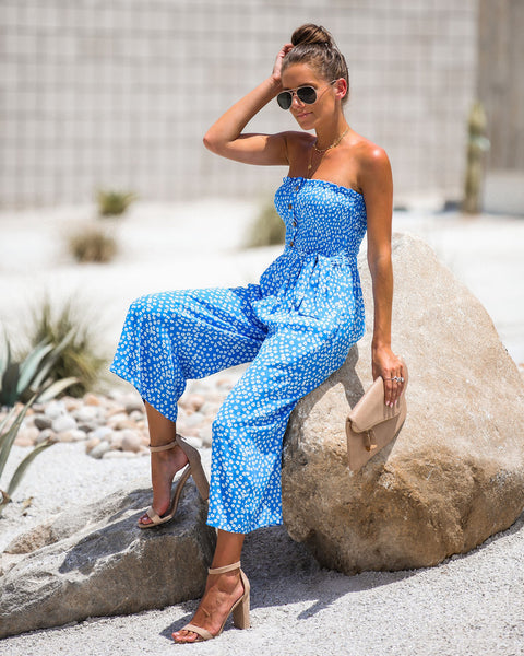 Kinsey Smocked Strapless Pocketed Jumpsuit - Blue - FINAL SALE