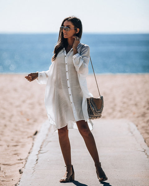Clearwater Woven Button Down Shirt Dress