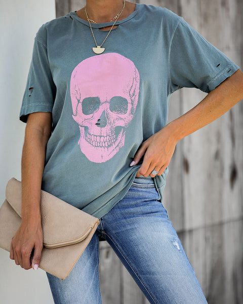 Sugar Skull Distressed Cotton Tee