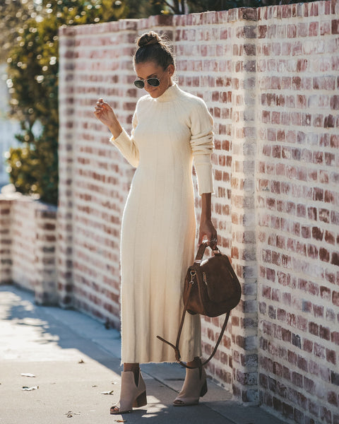 Adeline Ribbed Maxi Sweater Dress - Ivory