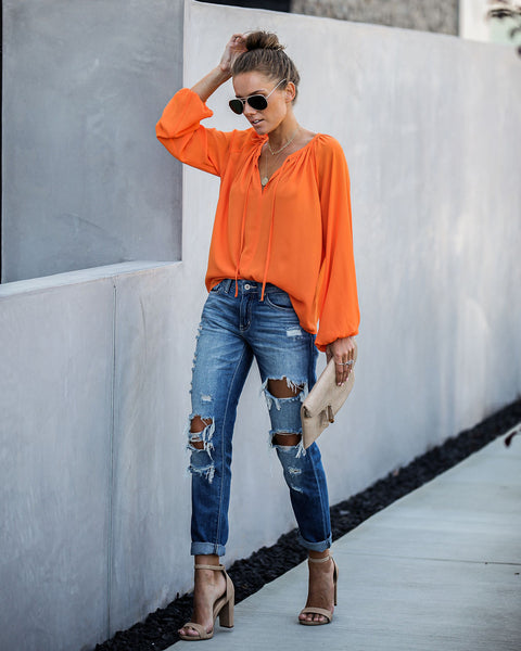 Down To Business Blouse - Orange - FINAL SALE