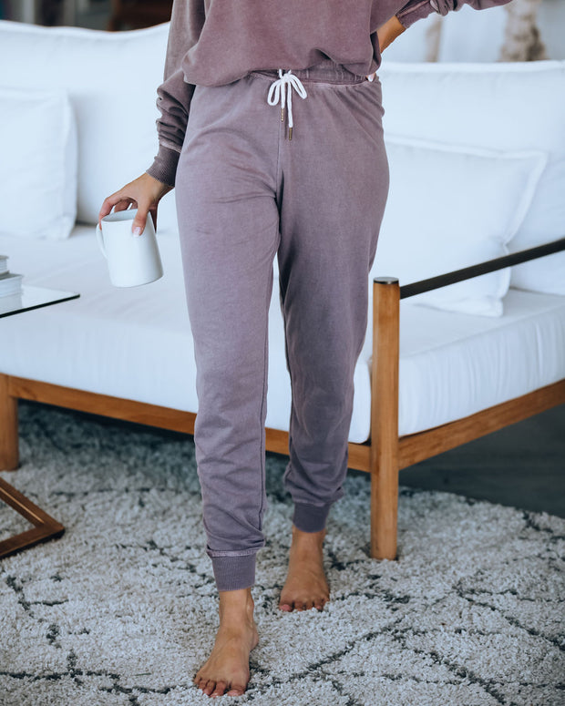 Down In The Sand French Terry Cotton Blend Joggers - Vintage Plum