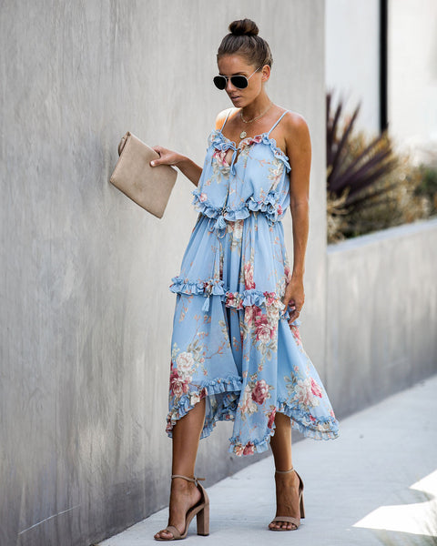 Luminosity Floral Tiered Ruffle Midi Dress