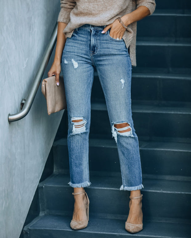Maxwell High Rise Distressed Denim view 8
