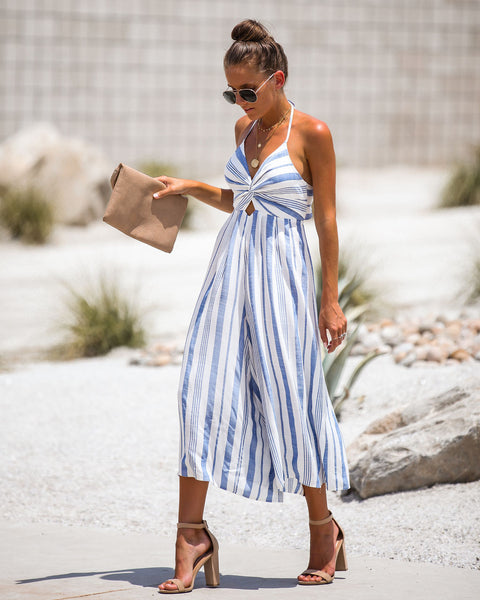 Dancing In The Street Halter Jumpsuit - Blue