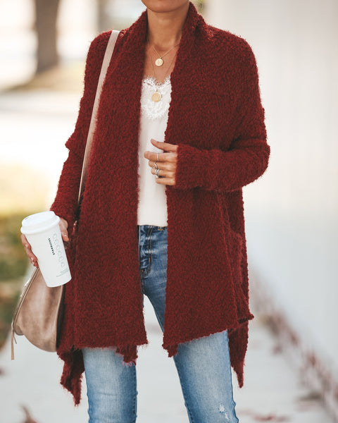 Blissfulness Knit Pocketed Cardigan - Rust