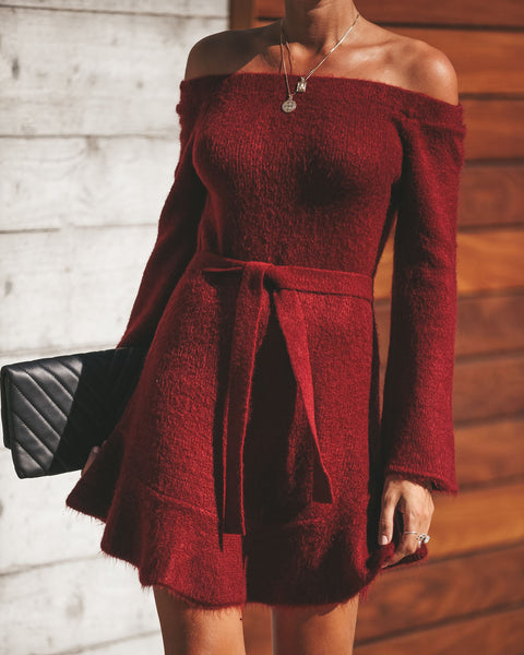 Adoration Off The Shoulder Sweater Dress - Wine