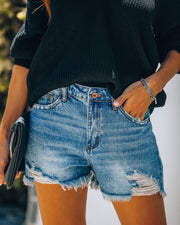 Timmy High Rise Distressed Denim Shorts