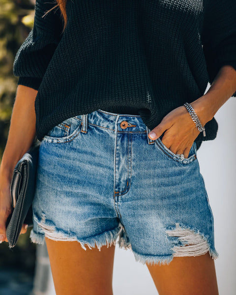 PREORDER - Timmy High Rise Distressed Denim Shorts