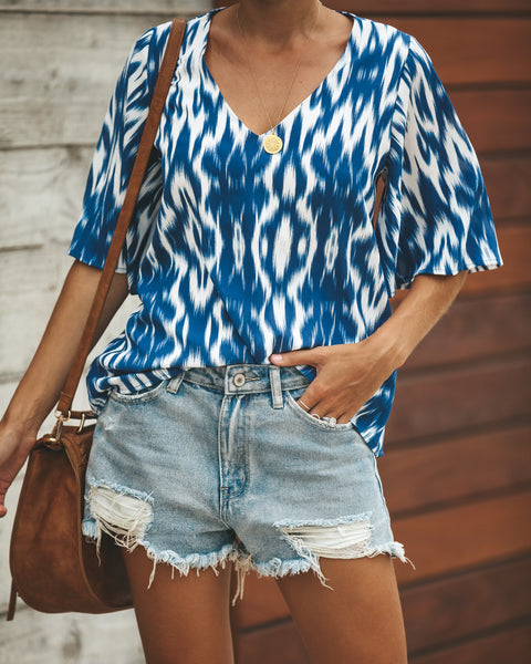V-Neck Mahalo Blouse - Blue - FINAL SALE