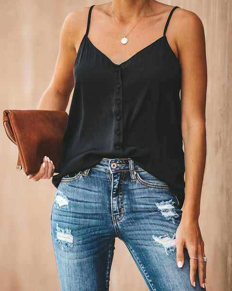 Pull Me Close Button Down Tank - Black