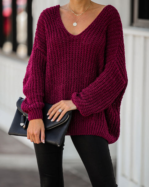 Pinky Promise Cotton Blend Knit Sweater - Wine