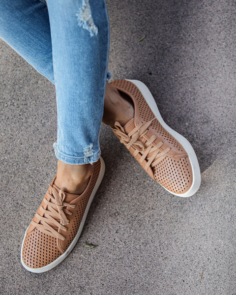 Montecito Faux Leather Perforated Sneakers - Brick