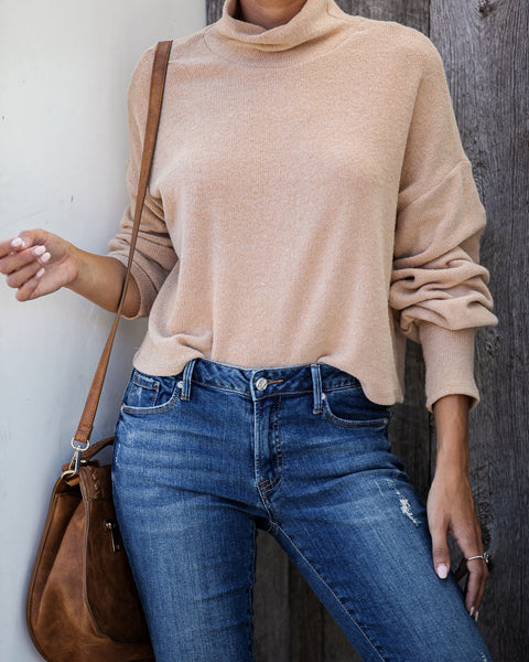 Signature Style Turtleneck Knit Sweater - Taupe