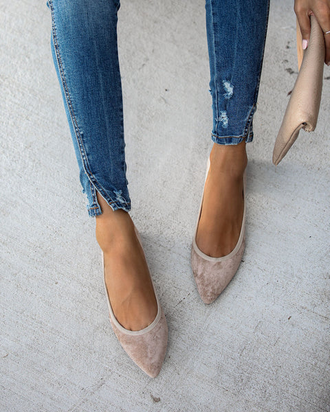 Network Faux Suede Pointed Flats - FINAL SALE