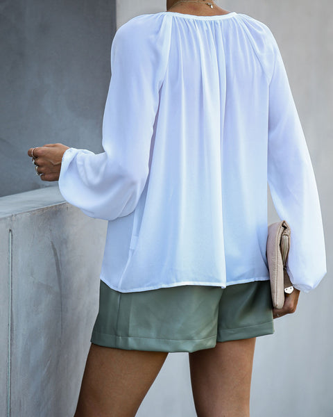 Down To Business Blouse - White - FINAL SALE