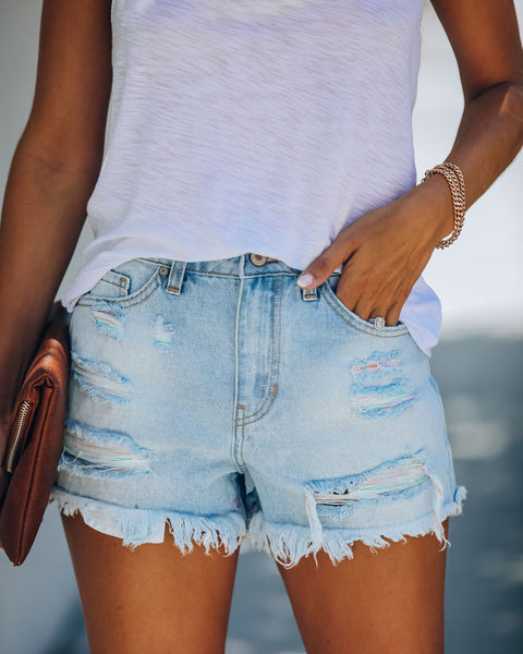 Taffy High Rise Distressed Denim Shorts