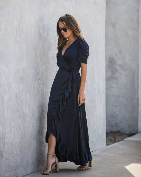 Red Carpet Ruffle Wrap High Low Maxi Dress - Navy - FINAL SALE