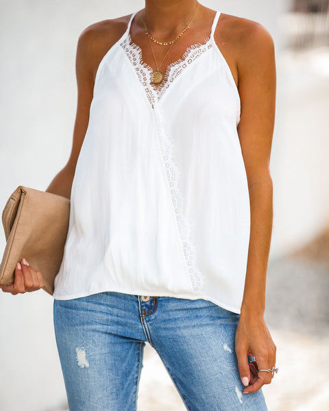 Pretty Lashes Drape Lace Cami Tank - Off White