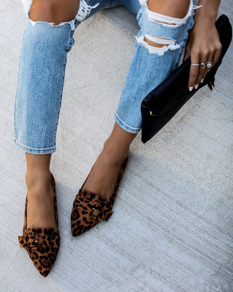 Lifestyle Pointed Buckle Flats - Leopard